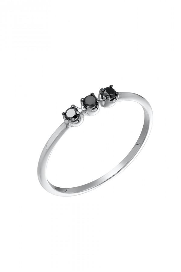Δαχτυλίδι Λευκόχρυσο 18Κ Μαύρο Διαμάντι Σειρέ 0,13Ct