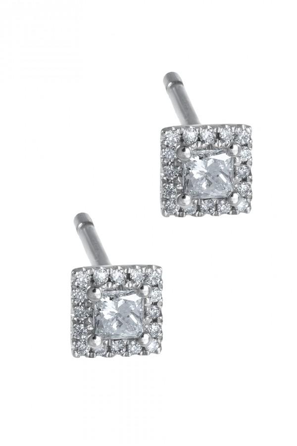 Σκουλαρίκια Λευκόχρυσο 18Κ Princess Cut Pave  Διαμάντι 0.19ct