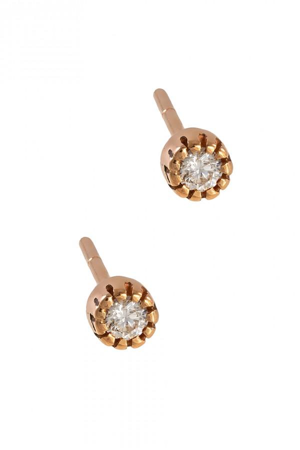 Σκουλαρίκια Ροζ Χρυσό 18Κ Διαμάντι 0.10ct