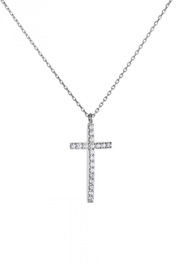 Κολιέ Λευκόχρυσο 18Κ Σταυρός με Διαμάντια Brillant