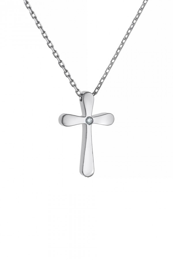 Κολιέ Λευκόχρυσο 18Κ Σταυρός με Διαμάντια Brillant 0.005ct