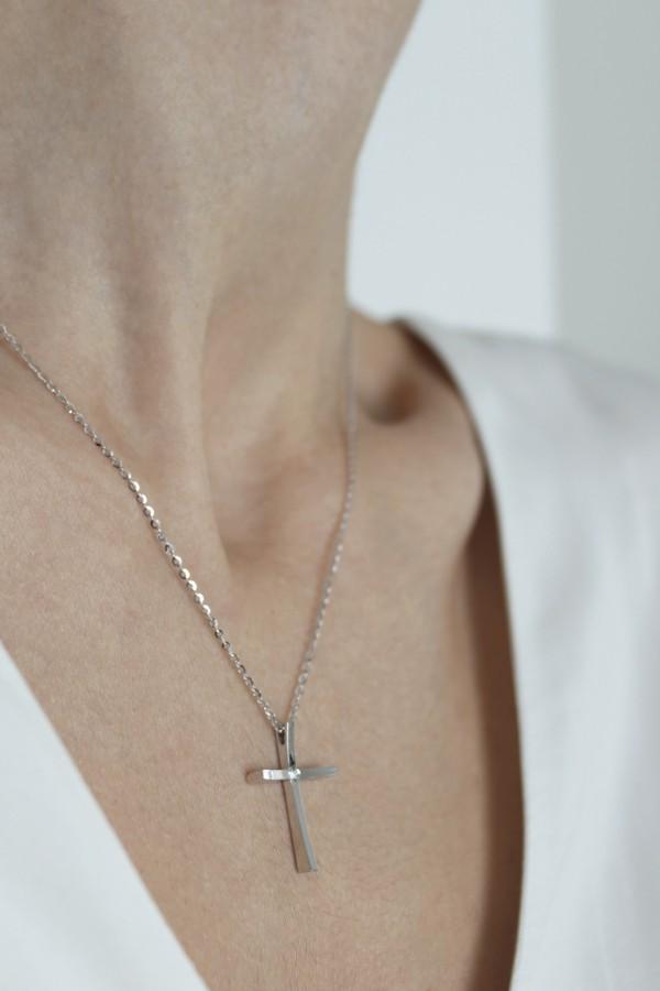 Κολιέ Λευκόχρυσο 18Κ Σταυρός με Διαμάντια Brillant 0,02Ct