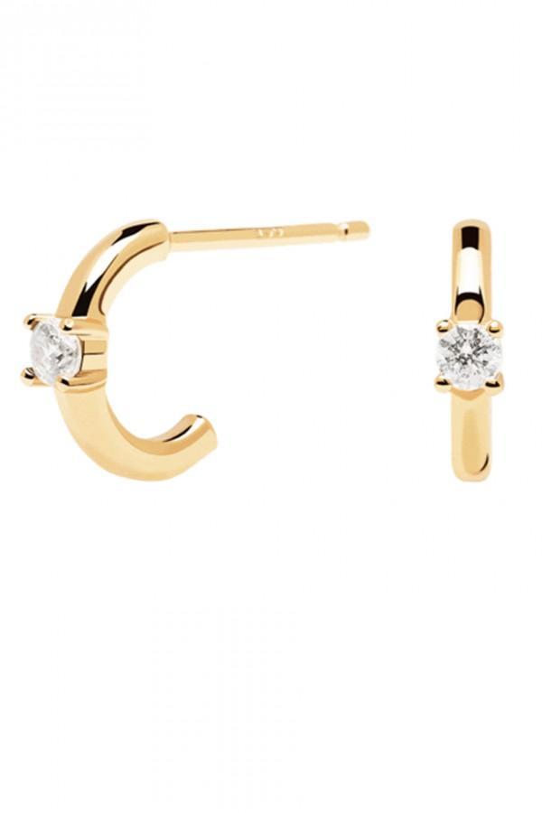Σκουλαρίκι PD PAOLA Ασήμι White Solitary Gold