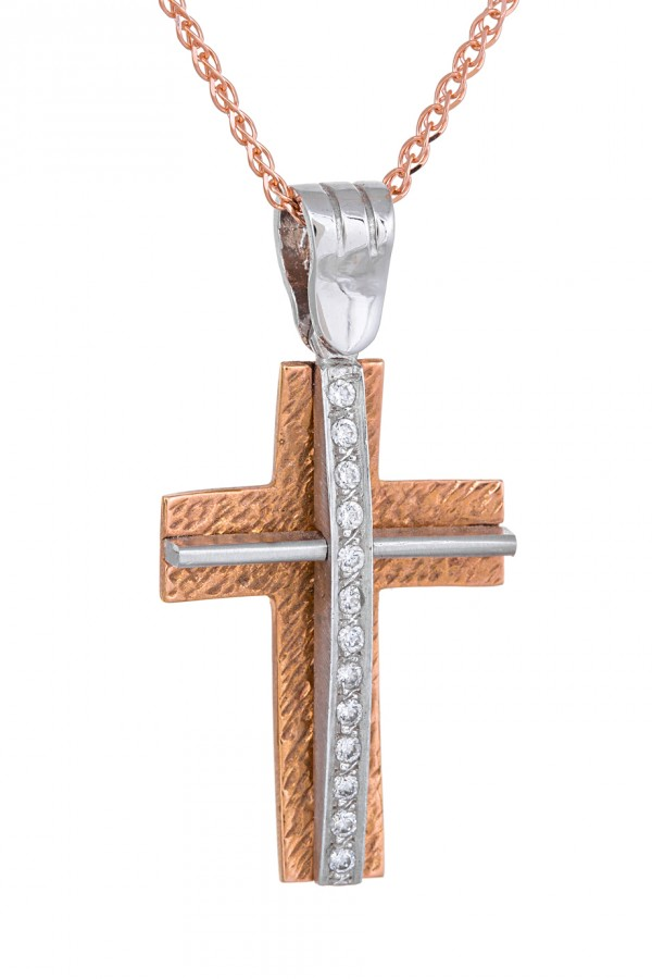 Σταυρός Βάπτισης Ροζ Χρυσός 14Κ Πετράτος 3306