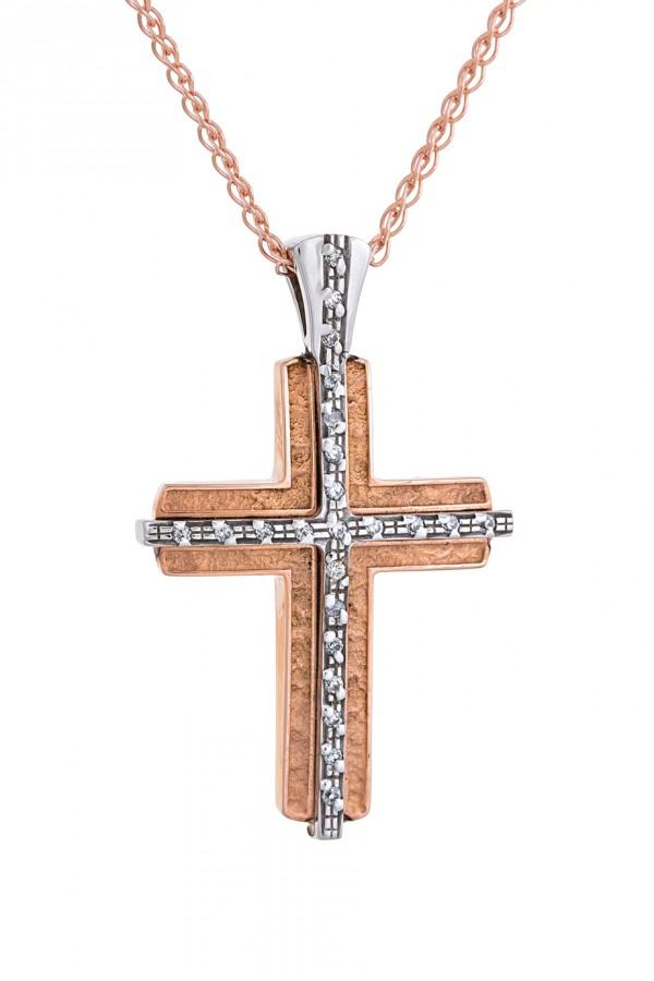 Σταυρός Βάπτισης Ροζ Χρυσός 14Κ Πετράτος 3316