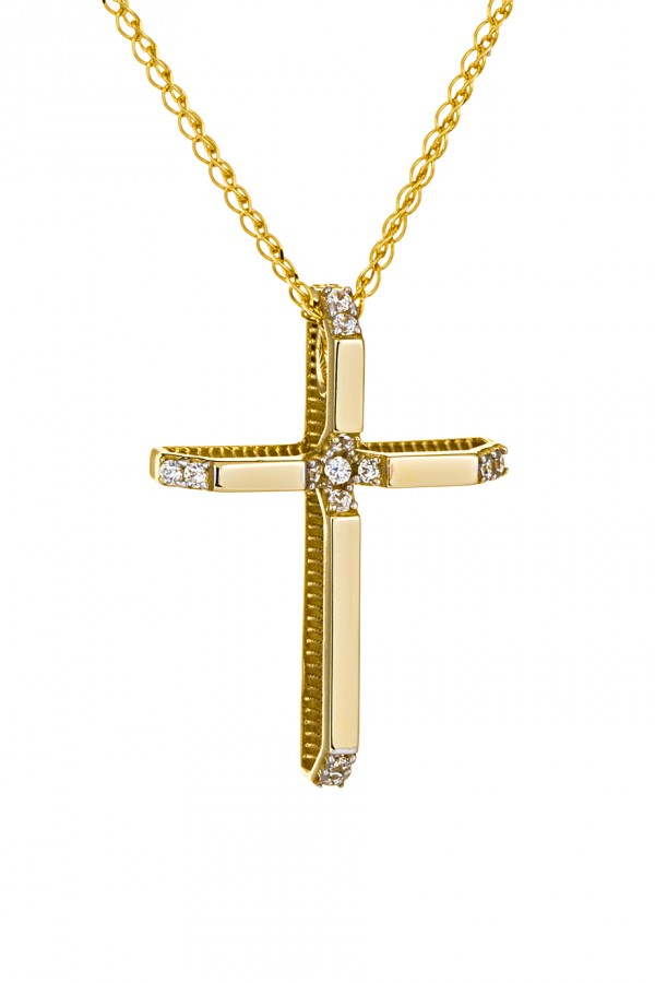 Σταυρός Βάπτισης Χρυσός 14Κ με Ζιργκόν 3508
