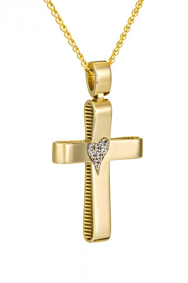 Σταυρός Βάπτισης Χρυσός 14Κ Καρδιά 3512