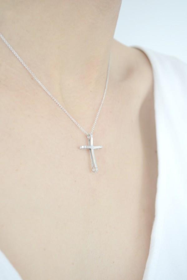 Σταυρός Βάπτισης Λευκόχρυσος με Ζιργκόν 3515