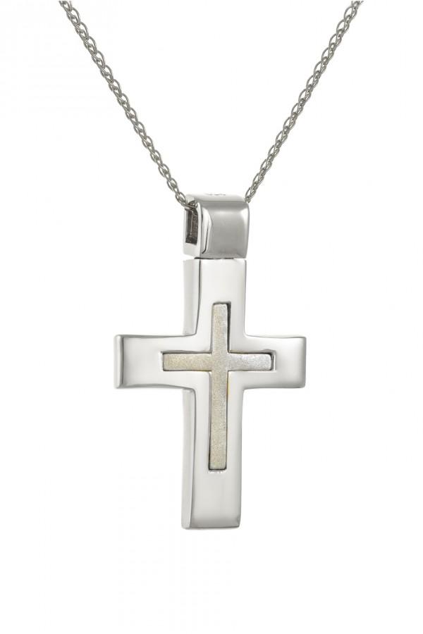 Σταυρός Βάπτισης Λευκόχρυσος 14Κ Minimal 4111