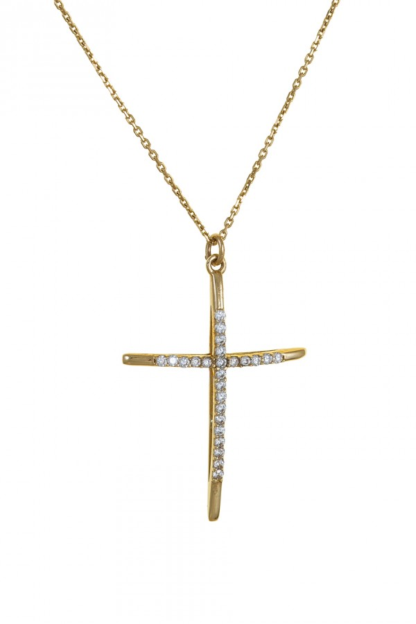 Σταυρός Χρυσός 14Κ Minimal Πετράτος 4220