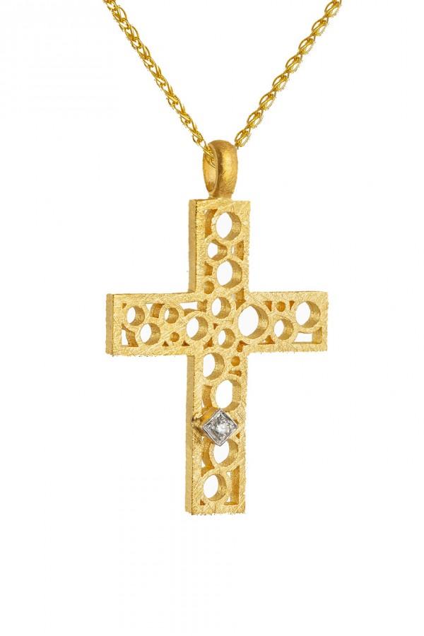 Σταυρός Βάπτισης Χρυσός 14Κ Ματ Πετράτος 4394