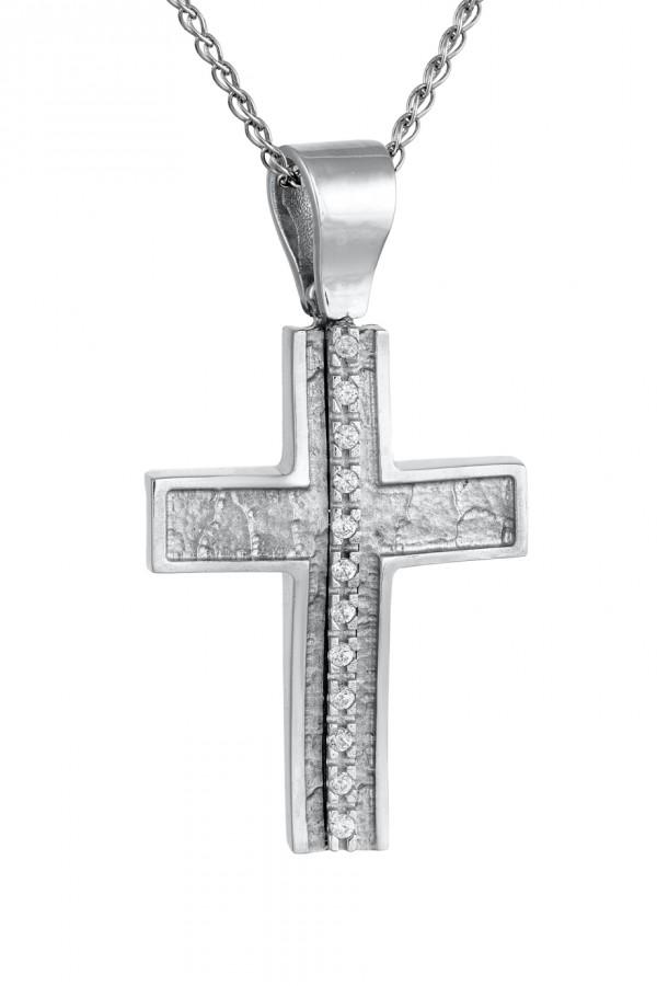 Σταυρός Βάπτισης Λευκόχρυσος Κ.14 Πετράτος 4684