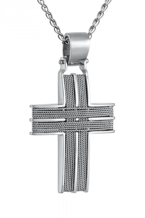Σταυρός Βάπτισης Λευκόχρυσο Κ.14 Χειροποίητος 4687