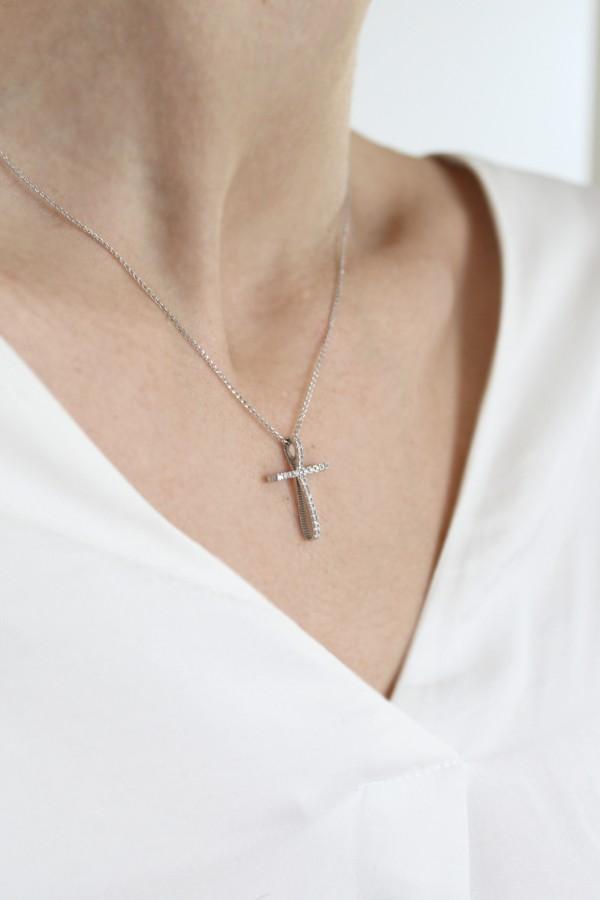 Σταυρός Βάπτισης Λευκόχρυσος 14Κ Φιόγκος 4012