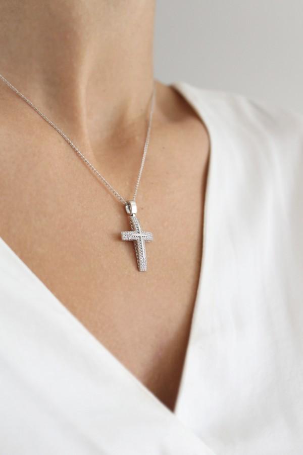 Σταυρός Βάπτισης Λευκόχρυσος 14Κ Πετράτος 4109