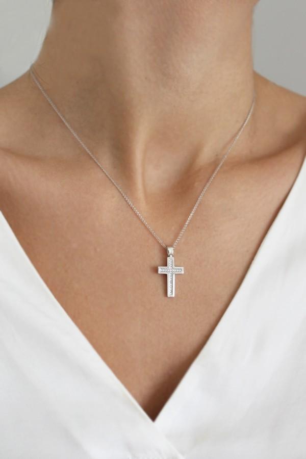 Σταυρός Βάπτισης Λευκόχρυσος 14Κ Οικονομικός 4110