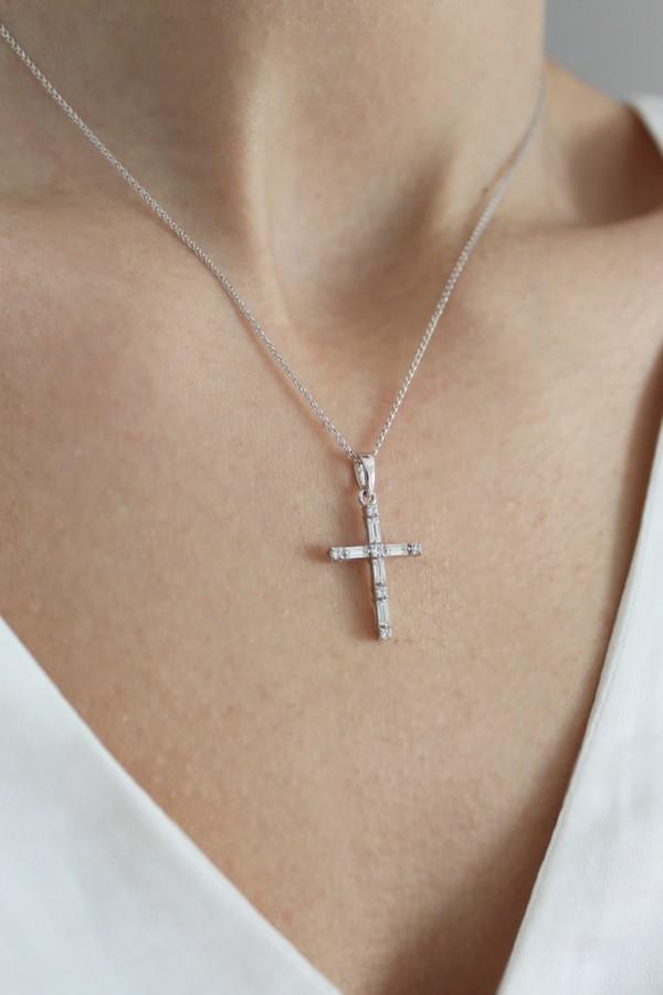 Σταυρός Βάπτισης Λευκόχρυσος 14Κ Πετράτος 4212