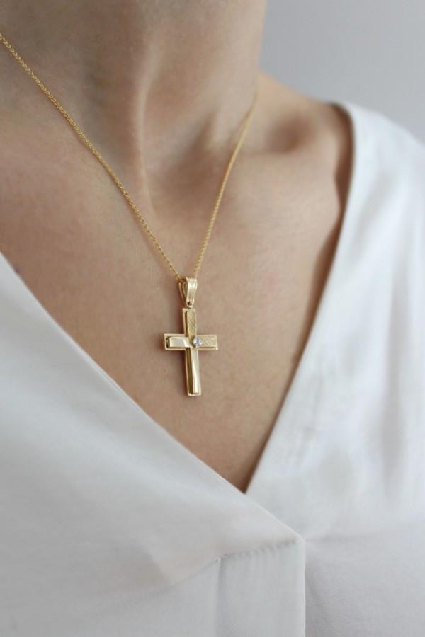 Σταυρός Βάπτισης Χρυσός 14Κ Διπλής Όψης 4325