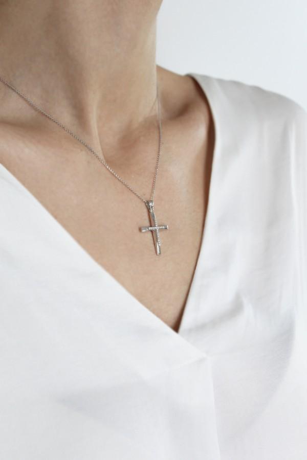Σταυρός Βάπτισης Λευκόχρυσος 14Κ Πετράτος 4380