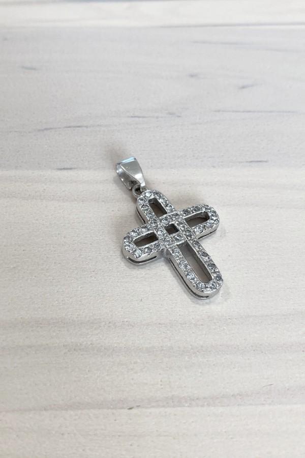 Σταυρός Βάπτισης Λευκόχρυσος Κ.14 Πετράτος Διάτρητος 4689