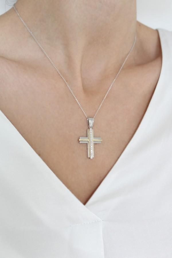 Σταυρός Βάπτισης Λευκόχρυσος Κ.14 Πετράτος 4690