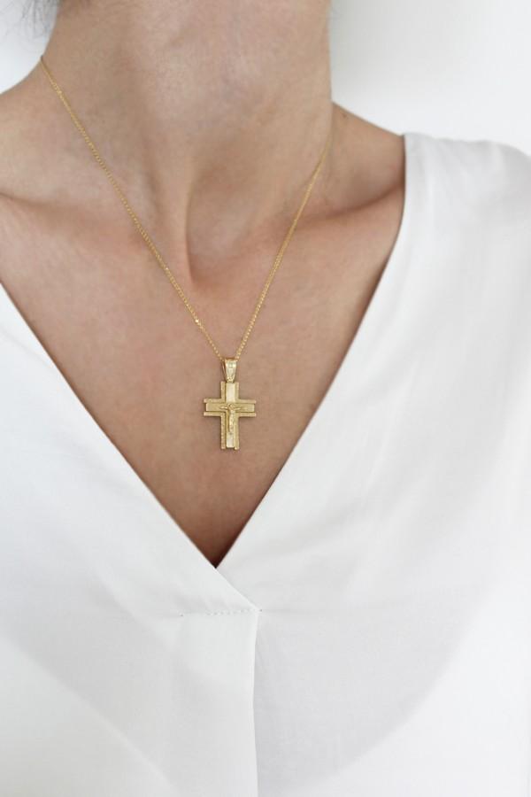 Σταυρός Βάπτισης Χρυσός K.14 Εσταυρωμένος 4702