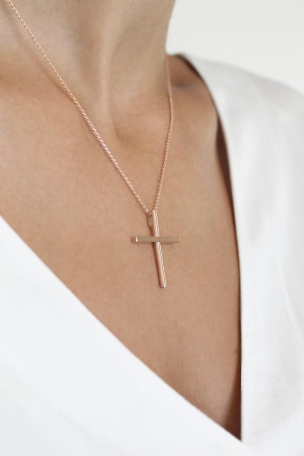 Σταυρός Βάπτισης Ροζ Χρυσό Minimal 4751