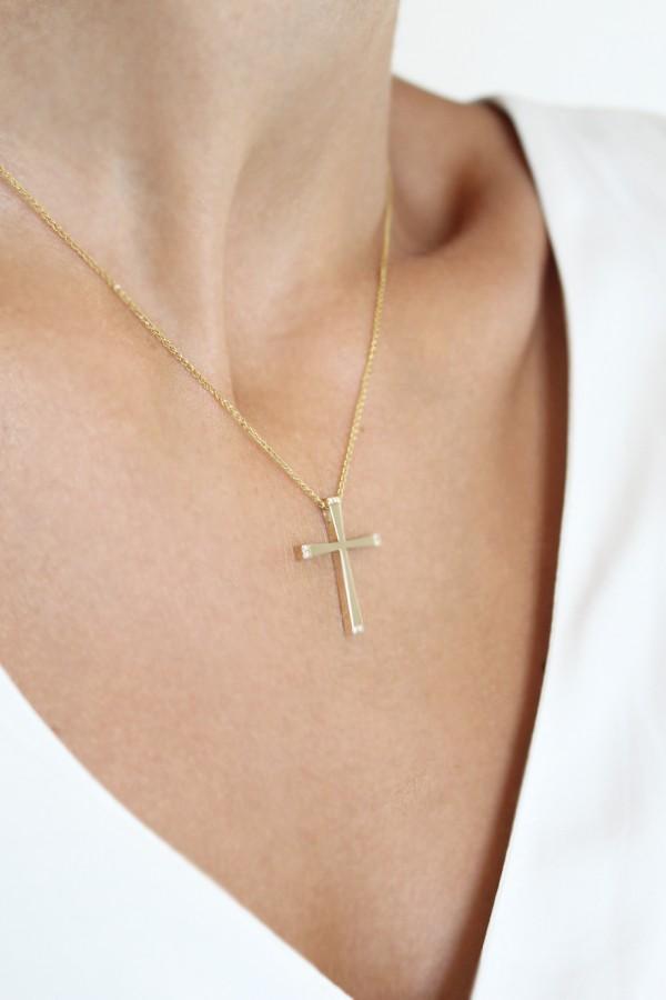 Σταυρός Βάπτισης Χρυσός Μοντέρνος 4754