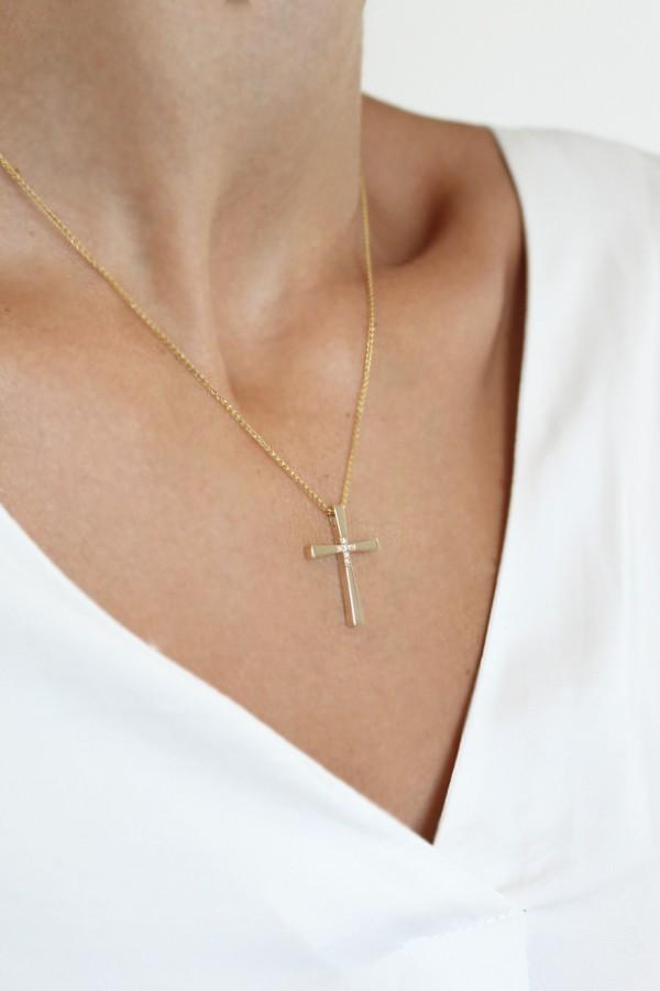 Σταυρός Βάπτισης Χρυσός Μοντέρνος 4755