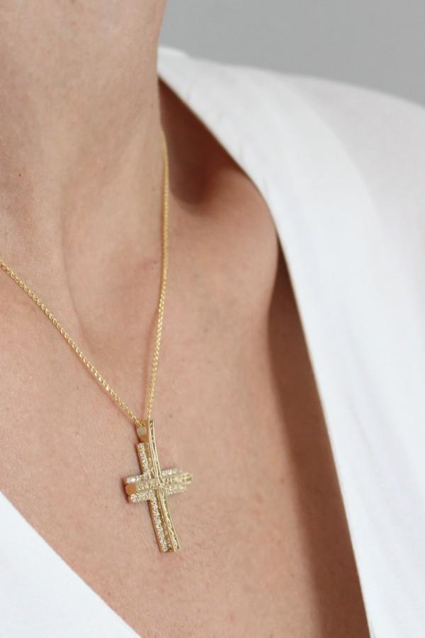 Σταυρός Βάπτισης Χρυσός 14Κ Πετράτος 1199