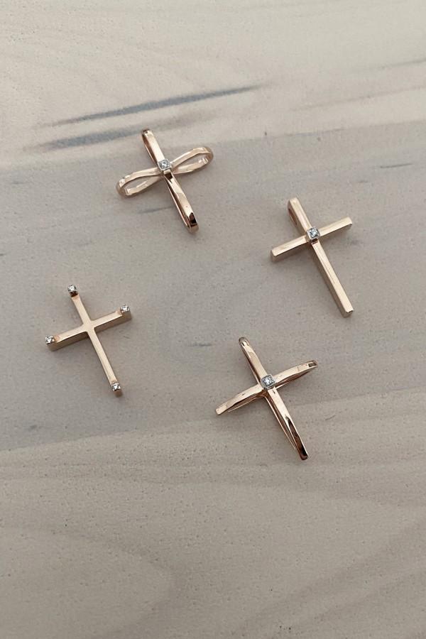 Σταυρός Βάπτισης Ροζ Χρυσός 14Κ Fashion 4218